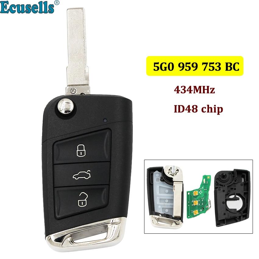 3 botones llave de control remoto Fob 434MHz con ID48 Chip para VW Volkswagen Skoda Octavia A7 MQB Golf VII Golf7 Golf MK7 2017