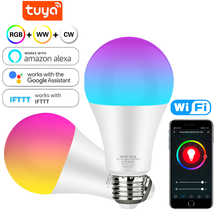 WiFi Smart Light Bulb 12w 15w Color Changing Light E27 RGB RGBW LED Bulb Dimmable Alexa Compatible Tuya Smart Life APP Google