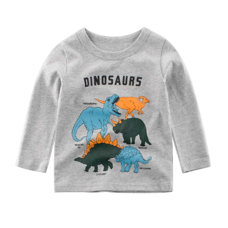 boys long sleeve t shirts for children 2017 autumn pure color t shirt cotton 1 15t kids clothing baby girls tops tees clothes New 2019 Autumn Baby Boys Clothes Cartoon Dinosaur Printed T Shirt Boys Cotton Children Long Sleeve Tees Kids T Shirts Boy Tops