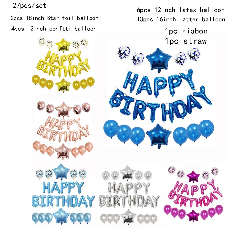 1Set Happy Birthday Decoration Balloons Letter Foil Ballons Kids Adult Party Decorations Globos Anniversary