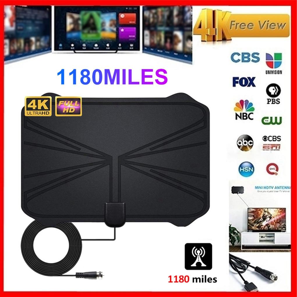 Antenne numérique intérieure amplifiée HDTV 4K, HD, DVBT2, HD, portée 1180 Miles