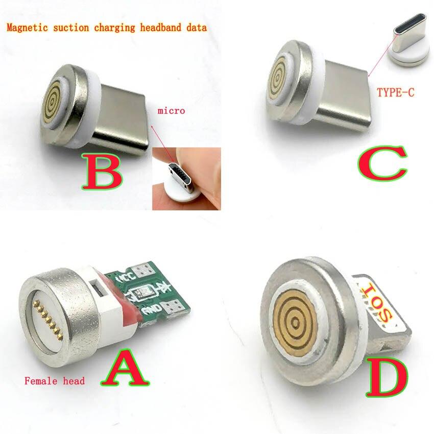 Enchufe de cabo magnético redondo para iphone, adaptador de carga rápida, micro usb tipo c, 12th