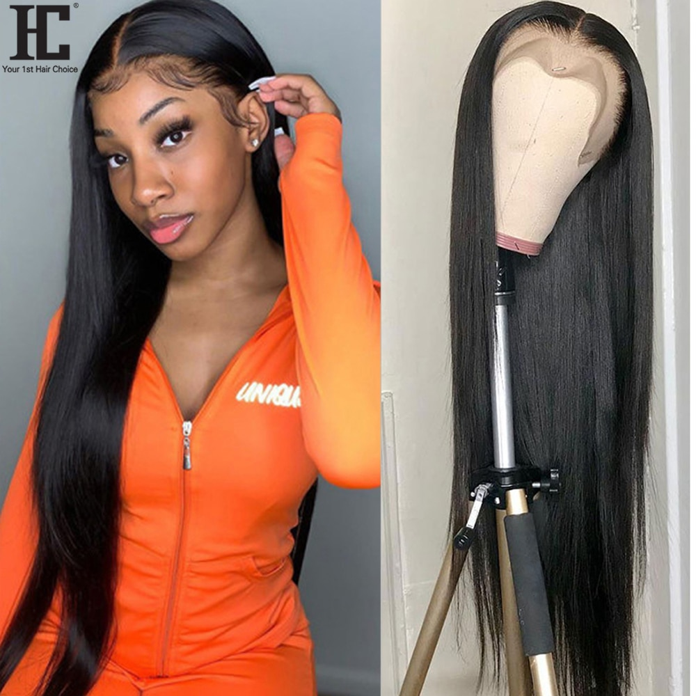 13X4 Lace Frontal Human Hair Wigs Brazilian Straight 150% Lace Front Wig Pre Plucked Remy Human Hair Lace Wig 34 Inch Deep Part