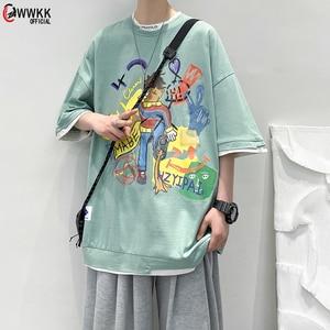 WWKK  harajuku T Shirtk cartoon Short Sleeve O-Neck Tops Men Women dropshipping summer loose oversize street clothes