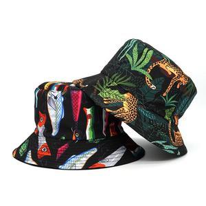 2021 Cotton four seasons Creative Animal Pattern Bucket Hat Fisherman Hat Outdoor Travel Hat Sun Cap for Men and Women 406
