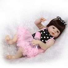 Reborn Baby GIRL Dolls Full Silicone Vinyl Body Bebe Handmade 22'' Nursery Gifts Baby Girl Toys