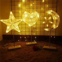 creative led night light christmas star moon table lamp battery powered rattan woven bedroom bedside lamp party home decoration