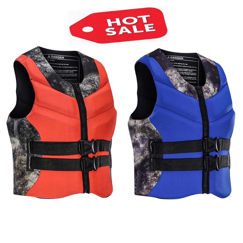 Неопреновые спасательные жилеты для мужчин и женщин для водных видов спорта, плавание с высокой плавучестью, спасательные жилеты для серфи...