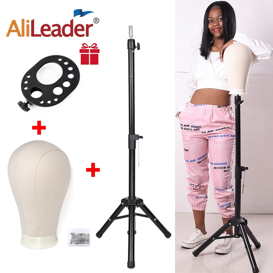 Alileader New 125Cm/60Cm Wig Stand Wig Tripod With Mannequin Canvas Block Head Adjustable Tripod Stand Wig Making kit TPins Gift
