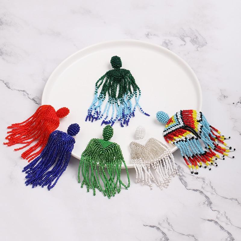 Boêmio Franjas Declaração Barato Brincos Borla Para As Mulheres Longa Queda Beads Dangle Brincos 2019 Boho Indiano Jóias Azul Verde