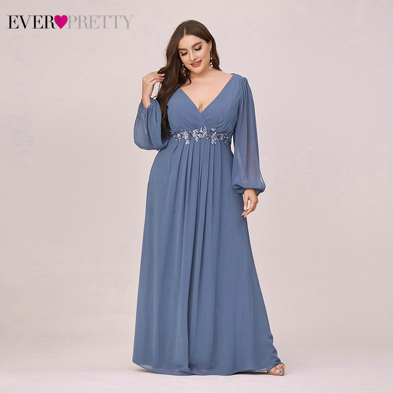 Plus Size Dusty Blue Mother Other Of The Bride Dresses Ever Pretty EP00461DN A-Line V-Neck Full Slee