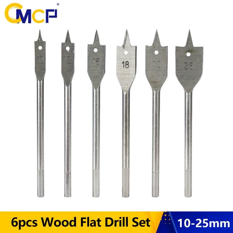 CMCP 6 uds taladro plano para madera Set 10/12/16/18/20/25mm taladro de espada para carpintería brocas vástago hexagonal broca plana