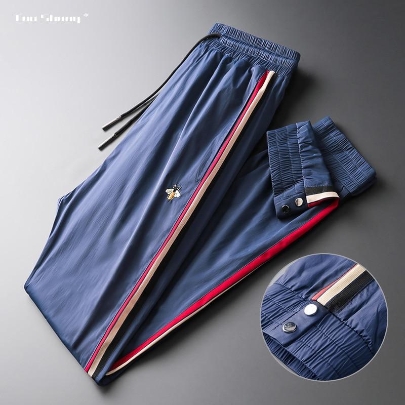 Новые спортивные штаны с вышивкой мужские спортивные штаны Bee, модные дизайнерские джоггеры с боковыми полосками, джоггеры, уличная одежда
