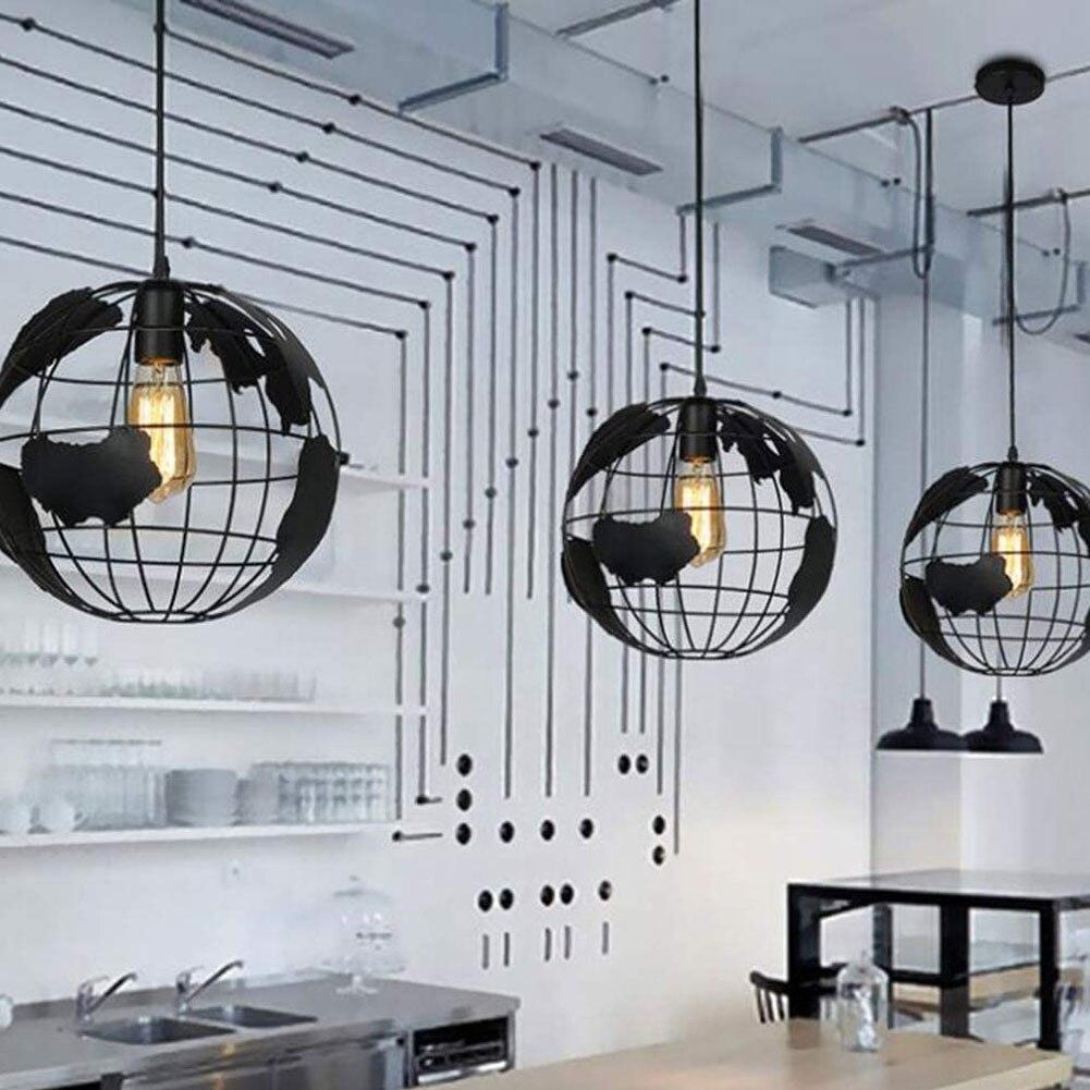 2021 الشمال قلادة أضواء أسود الحديد الرجعية كروية Loft قفص الهرم قلادة مصباح المطبخ مكتب الصناعية مصابيح معلقة
