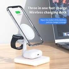 Магнитное Беспроводное зарядное устройство 3 в 1 для Iphone 12 Min Pro Max, индукционные зарядные устройства QI, быстрая зарядная станция для Apple Watch ...