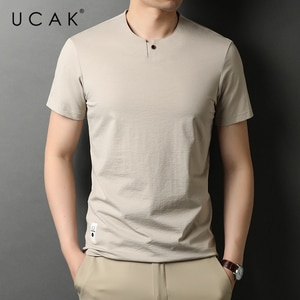 UCAK Brand Classic Solid Color Cotton T Shirt Men Clothes Summer New Fashion Tops Streetwear Casual Soft Tshirts Homme U5468