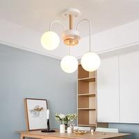 led modern loft LED hanging lamp light fixture gold white wood ball hanging pendant lamp light