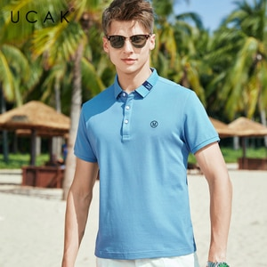 UCAK Brand Classic Turn-down Collar T-Shirt Men Clothes Summer New Fashion Streetwear Casual Solid Color Cotton Tee Tops U5610