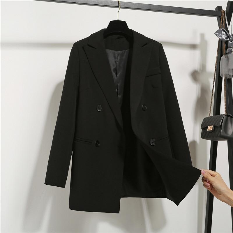 Новинка 2021 г., женские блейзеры большого размера для отдыха, осенние женские блейзеры для офиса, Женская однотонная куртка для дам