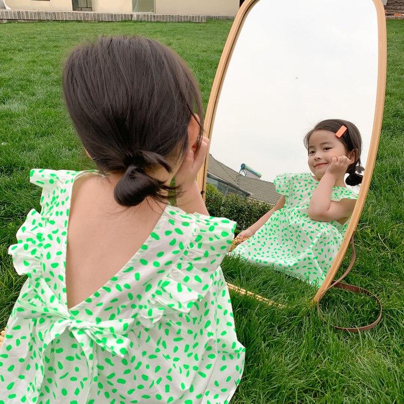 Robe dété pour filles   Robe de princesse en coton, à la mode, dos col en v, pour enfants, 2020