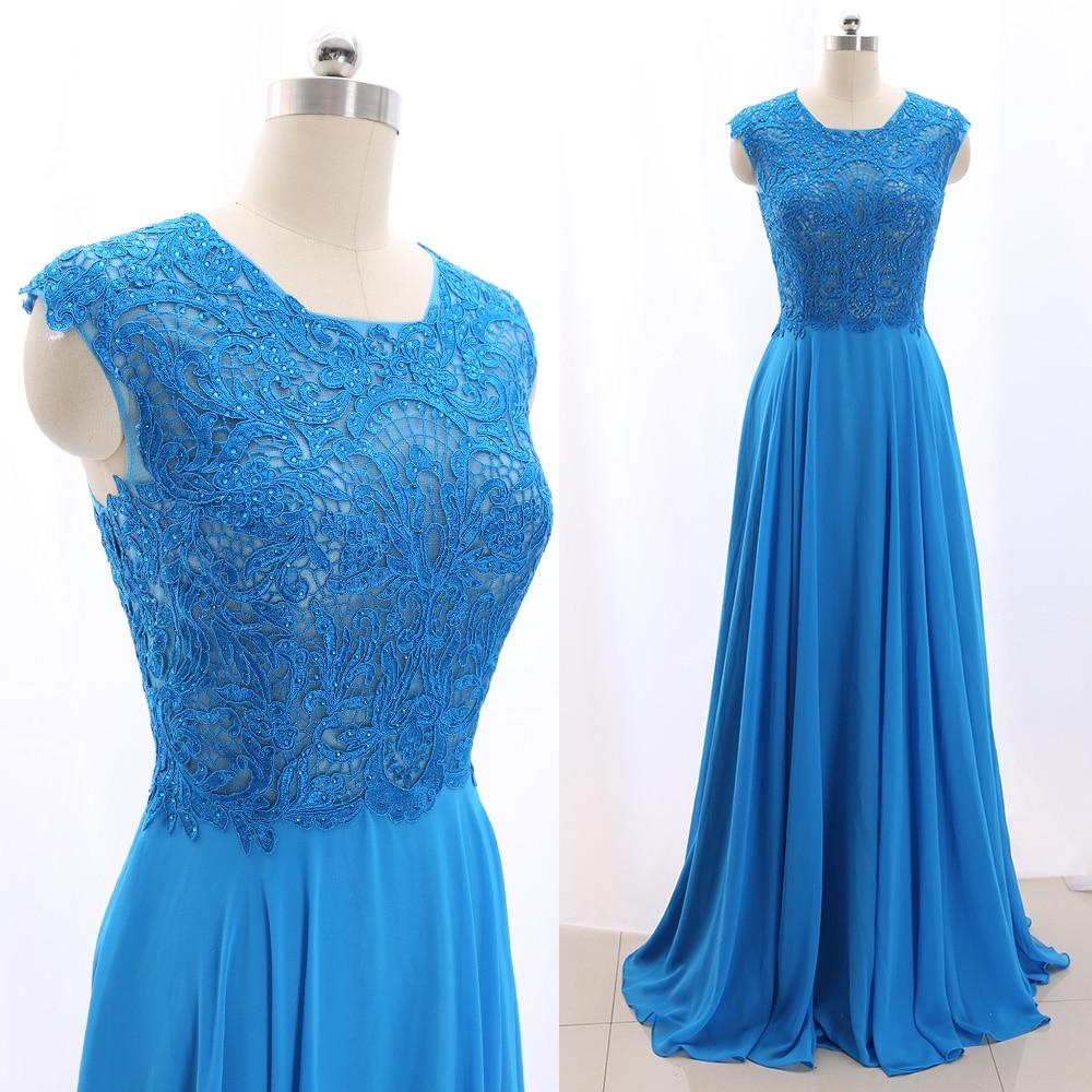 MACloth Blue A-Line O Neck Floor-Length Long  Chiffon Prom Dresses Dress M 266685 Clearance