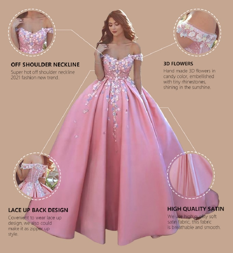 Off Shoulder Pink Evening Dress Girls Sweet Quinceanera Dresses Flowers Beaded Party Gowns Ball Gown Prom Dresses