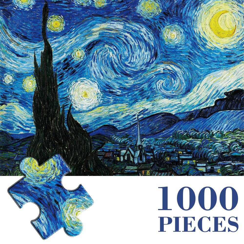 Пазлы MaxRenard 50*70 см из 1000 деталей, Ван Гог, звездное небо, бумага для сборки, живопись, художественные головоломки, игрушки для взрослых, игры