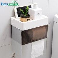Adhesive Multi-function Bathroom Toilet Paper Holder Shelf Tissue Box Waterproof Holder