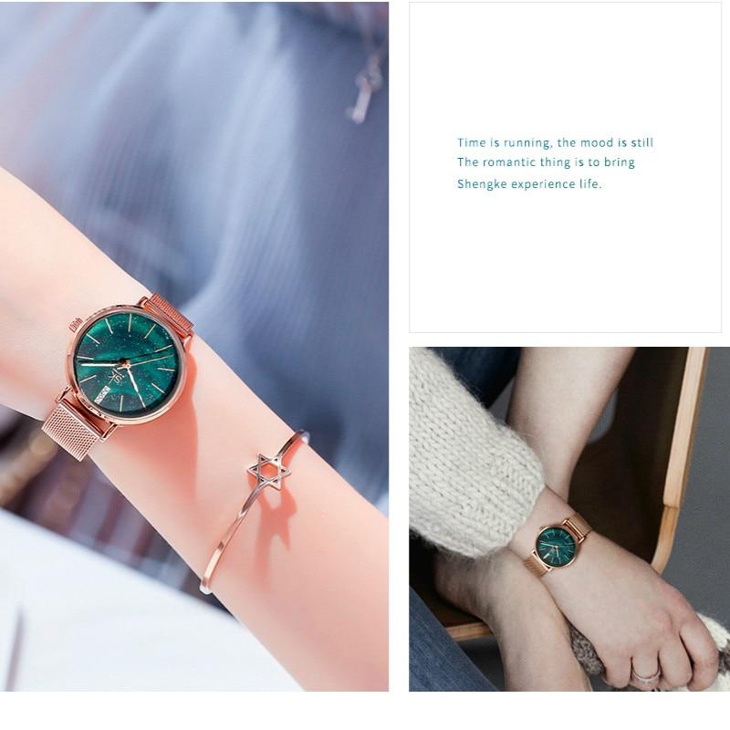 Shengke Watch Women Starry Dial Luxury Designer Stainless Steel Band SK Quartz Wrist Watch Ultra-thin Reloj Mujer Gift for Women enlarge