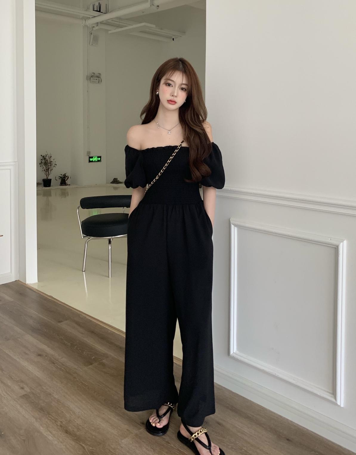 Summer Korean Women Black Long Jumpsuit With Puff Sleeves Off-The-Shoulder Casual Loose Slimmer black one shoulder long sleeves loose sweaters