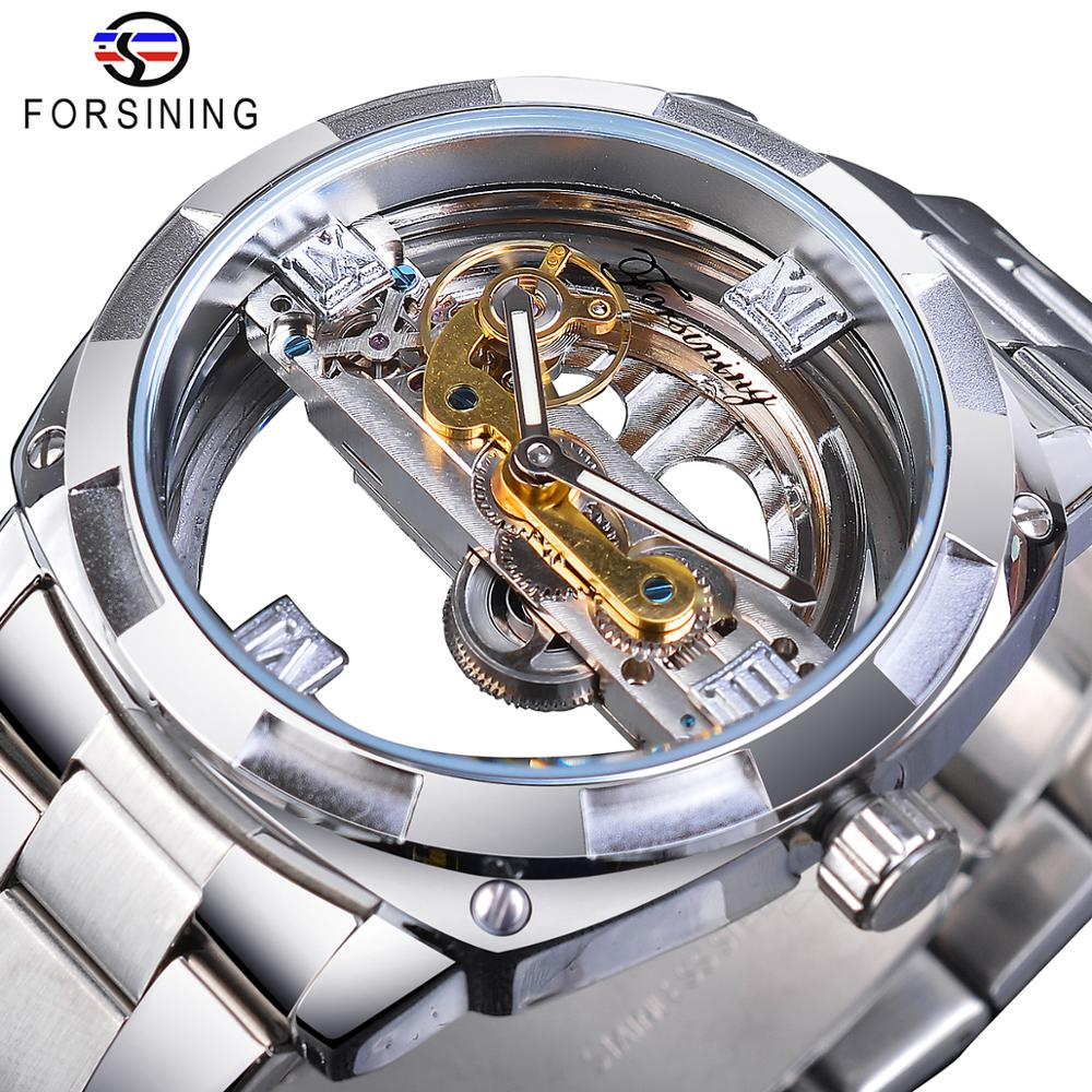 Forsining Men Transparent Design Mechanical Watch Automatic Silver Square Golden Gear Skeleton Stain