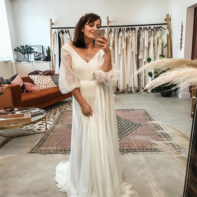 Get MoonlightShadow Lovely Wedding Dresses A-Line V-Neck Three Quarter Sleeves Tulle Point Net Bridal Gowns Vestito Da Sposa