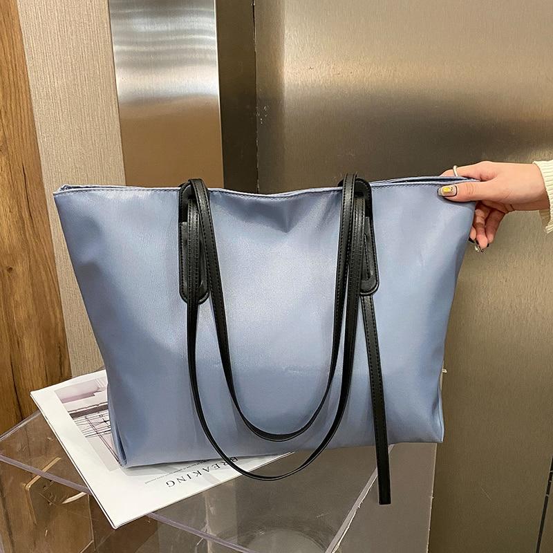Minimalist Large Capacity Women's Tote Bag Nylon Waterproof Casual Shoulder Bags for Women 2021 Solid Color Handbags