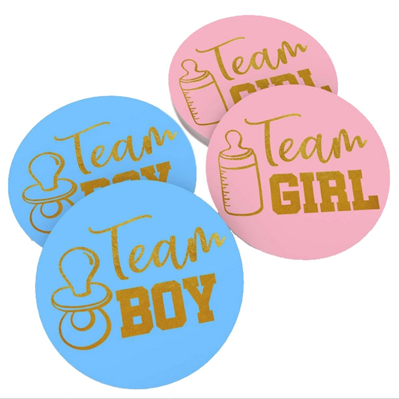 4mm Diameter Team Boy Team Girl Stickers Boy or Girl Vote Sticker Gender Reveal Party Creative Decoration Baby Shower Supplies