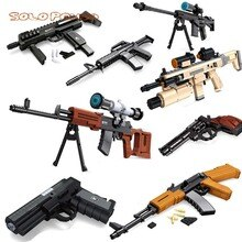 2020 Gun assembly block AK47 Sniper Rifle revolver Pistol building blocks compatible with lego boy birthday gift machine guns