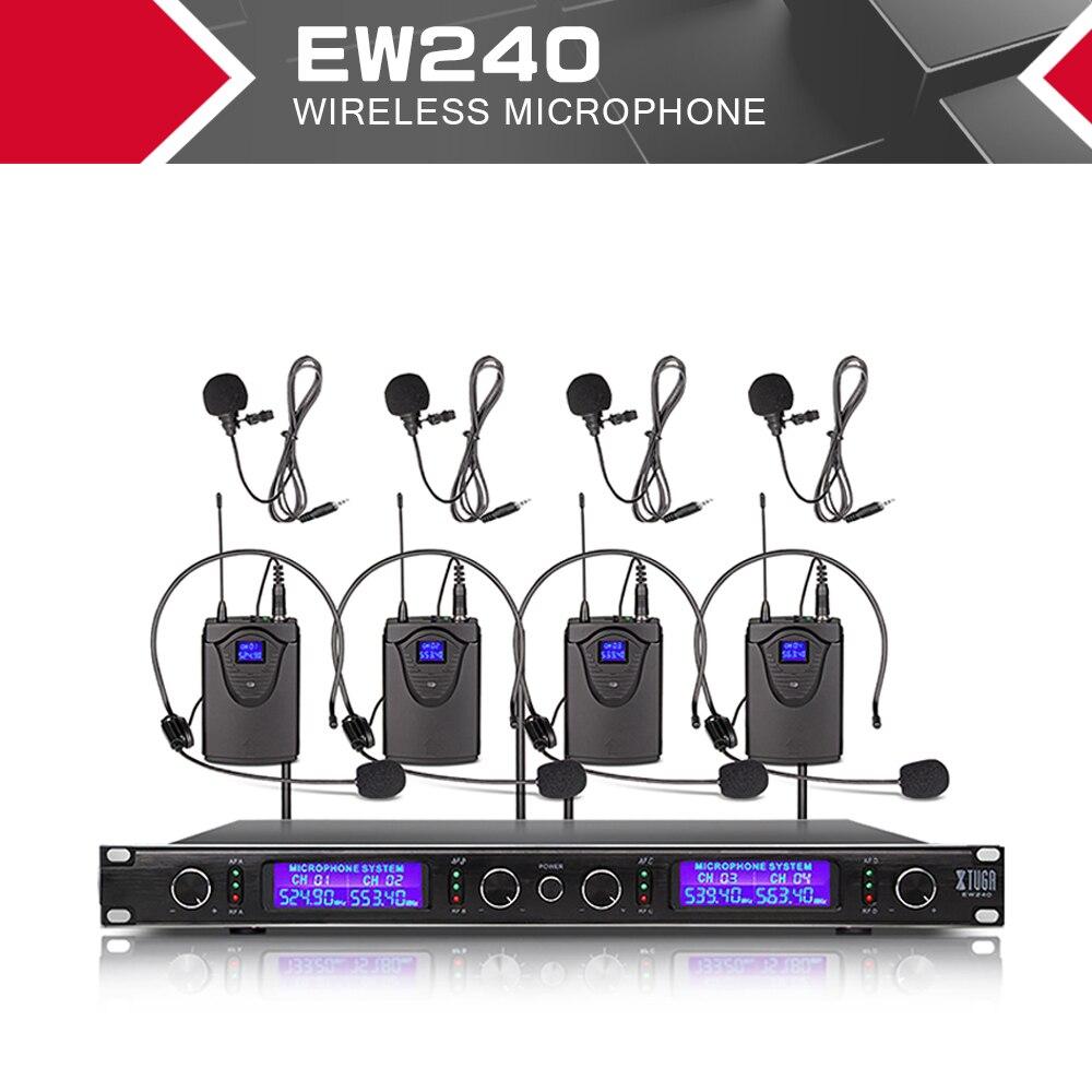 XTUGA-نظام ميكروفونات لاسلكي EW240 ، 4 قنوات ، نظام كاريوكي UHF ، لاسلكي ، مع 4 أجهزة ميكروفون محمولة على الجسم ، للمرحلة أو استخدام الكنيسة للحفلات
