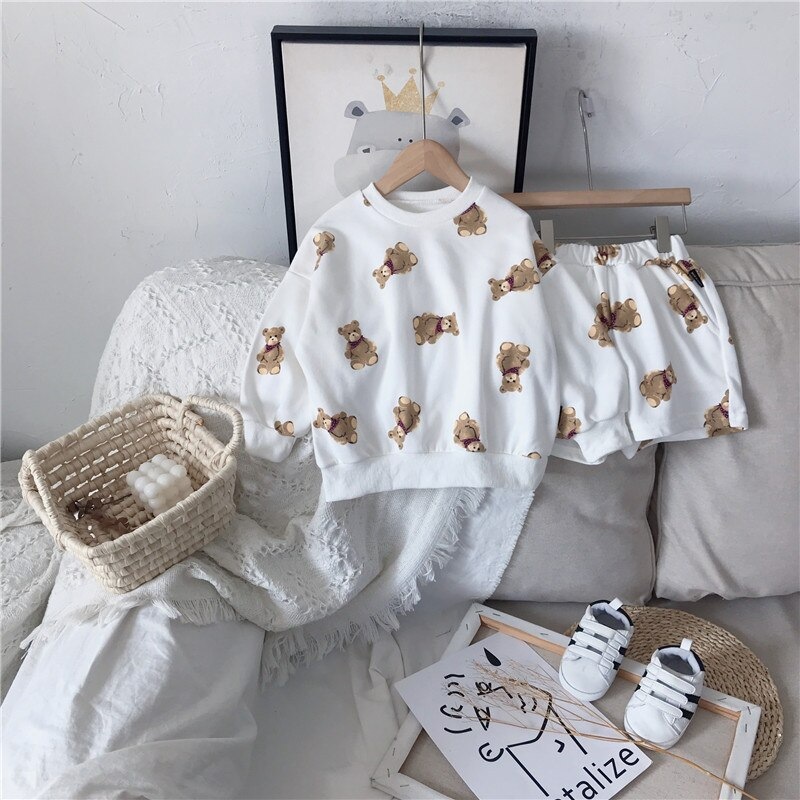 Купить с кэшбэком Little Boys Girl Clothes Sets Children Muslin Outfits Child Tops+Shorts Sports Suit Hoods Kids Matching Clothes Korean Tracksuit