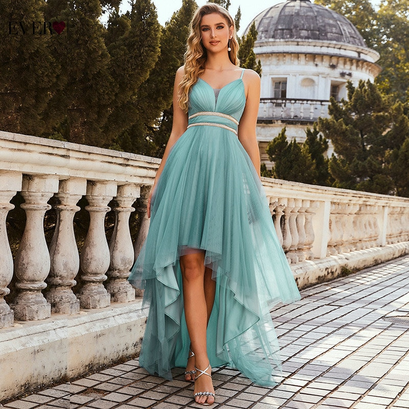 Sage Green Prom Dresses Ever Pretty Elegant A Line V Neck Spaghetti Straps High Low Ruffle Dress Cocktail Party Gown EP00212DB