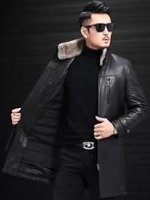 Nouveau hommes hiver 95% blanc canard doudoune en cuir véritable hommes manteau en duvet réel vison col en fourrure hommes long hiver manteau 5XL