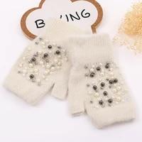 gloves women fingerless winter guantes warm cashmere wool knitted rabbit fur pearl beaded female mitten half finger luvas gloves