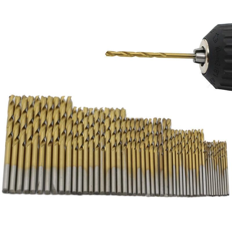 FGHGF 50PCS 4Sizes Mini Micro Round Shank Drill Bits Set Small Precision HSS Twist Drills For Angle Iron Wood Woodworking