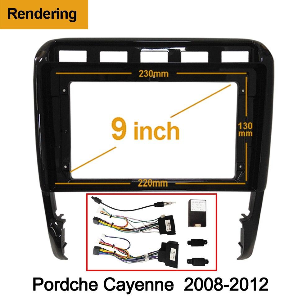1din 2Din Auto DVD Rahmen Audio Fitting Adapter Dash Trim Kits Facia Panel 9 zoll Für Porsche Cayenne 2008-2012 doppel Radio Player