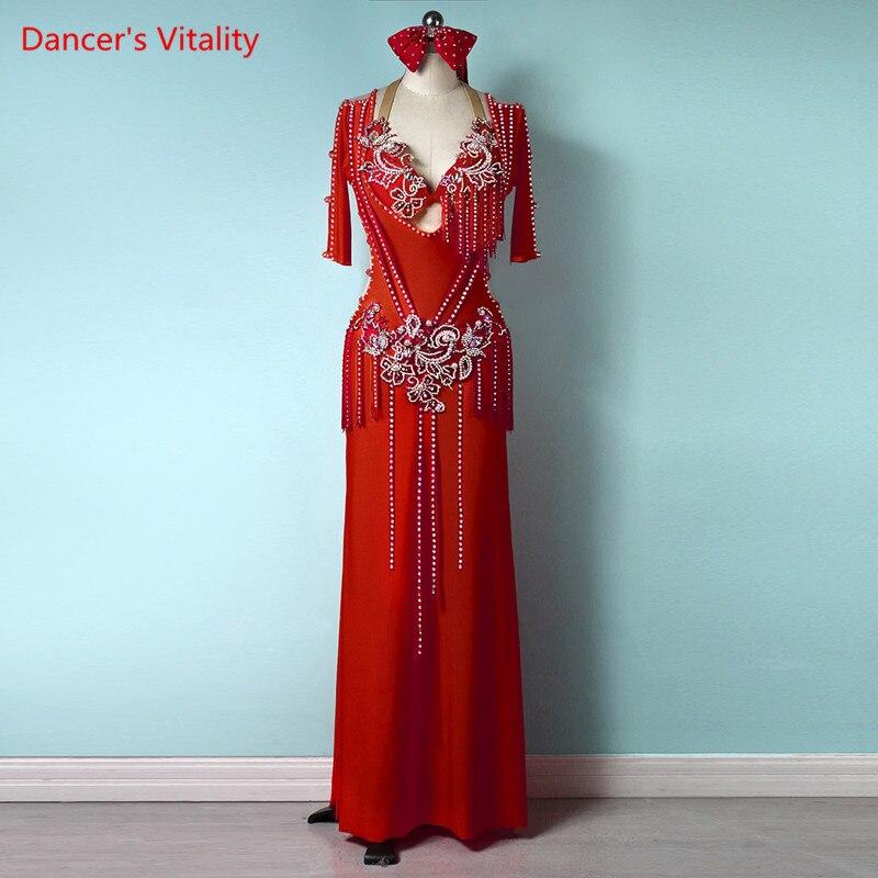 بدلة رقص شرقي شرابة صدرية ماسية نصف كم رداء أداء ملابس الراقية مخصص للكبار ملابس مسابقة فستان أطفال