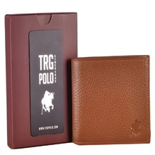 TRG POLO 27444 REAL LEATHER MEN'S WALLET WITH TAN COLOR CARD HOLDER