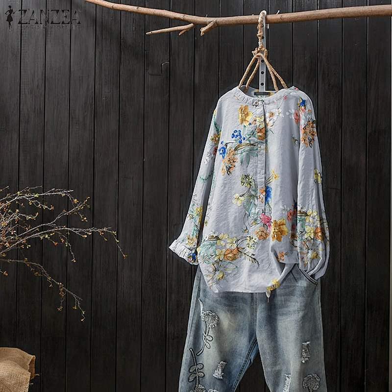 Mujeres túnica Tops Vintage Floral impreso blusa ZANZEA otoño camisa de manga larga Mujer bata trabajo Blusas Casual suelta camiseta