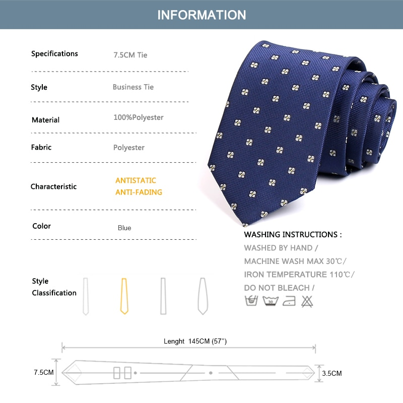 High Quality Fashion Formal Tie For Men Business Suit Work Necktie Men's 7.5CM Wide Ties Classic Blue Neck Tie With Gift Box
