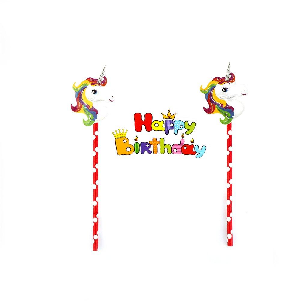 1 Juego de adornos para tartas de fiesta de Navidad para niños, suministros para pastel de unicornio de feliz cumpleaños, decoración de fiesta de cumpleaños para Baby Shower