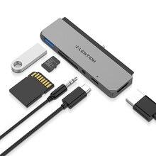lention USB C Multiport Hub, kompatibel mit dem neuen iPad Pro 11/12.9 (2018-2019), mit 2K HDMI, USB 3.0, SD/Micro SD Kartenlesern, Netzteil und 3,5mm Aux Adapter (Space Grau)