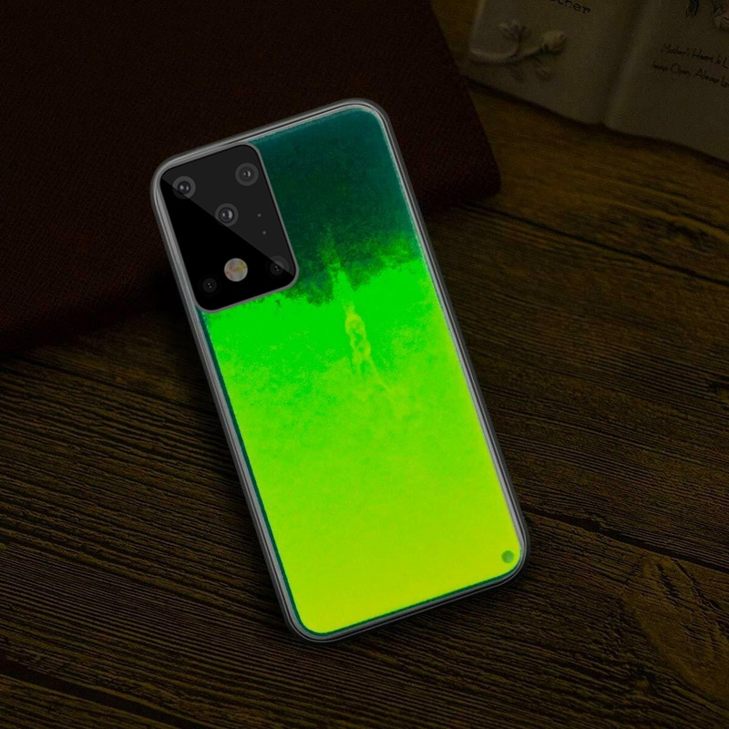 Luminous Neon Sand Cover For Samsung S20 S8 9 10 Plus Note 20 Ultra 10 A50 A70 40 Glow In The Dark L