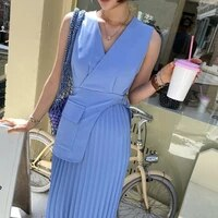 french ol office temperament work style dress women vintage sleeveless v neck pleated dress female retro one piece long dresses